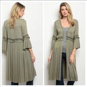 Sweaters - BOHO KIMONO Duster Long Button Lace Festival Flowy